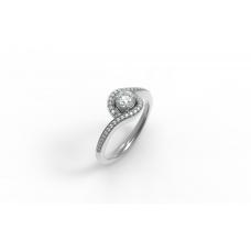 Zásnubný prsteň biele zlato s brliantom 0055