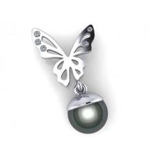 elegantný zlaty prívesok motylik s perličkou 0022