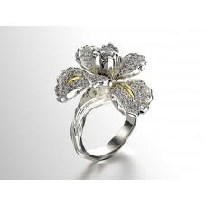 prsteň kvet iris fashion biele zlato 0016