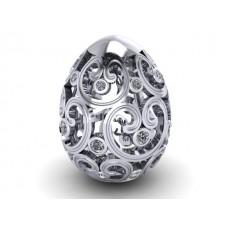 prívesok vajíčko baroko biele zlato  0010