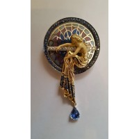 prekrasny nahrdelnik kombinovane zlato s vitražnym smaltom 0004