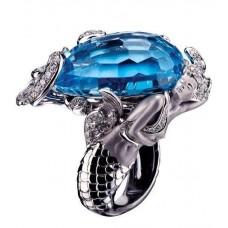 prsteň morská panna biele zlato s briliantom  0015